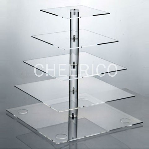 5 Tier Acrylic Square Pole Cupcake Stand