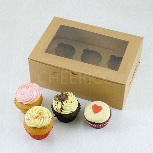25 sets of Window Kraft Brown Cupcake Box with 6 Cupcake Holder($1.40 each set)