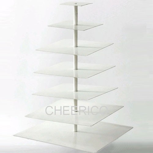 7 Tier Acrylic White Square Pole Cupcake Stand Display