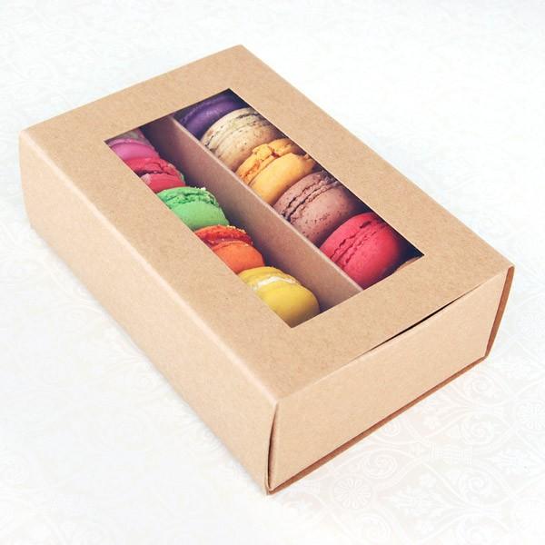 12 Macaron Kraft Brown Window Boxes ($2.30/pc x 25 units)