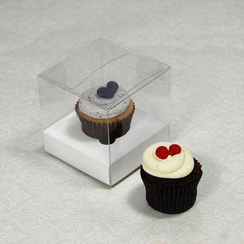 25 sets of Clear Mini Cupcake Box and 1 White Mini Cupcake Holder($1.10 each set)