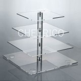 4 Tier Acrylic Square Maypole Cupcake Stand Tower Display