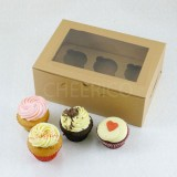 25 sets of Window Kraft Brown Cupcake Box with 6 Cupcake Holder($1.40 each set)