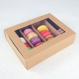 24 Macaron Kraft Brown Window Boxes ($2.80/pc x 25 units)